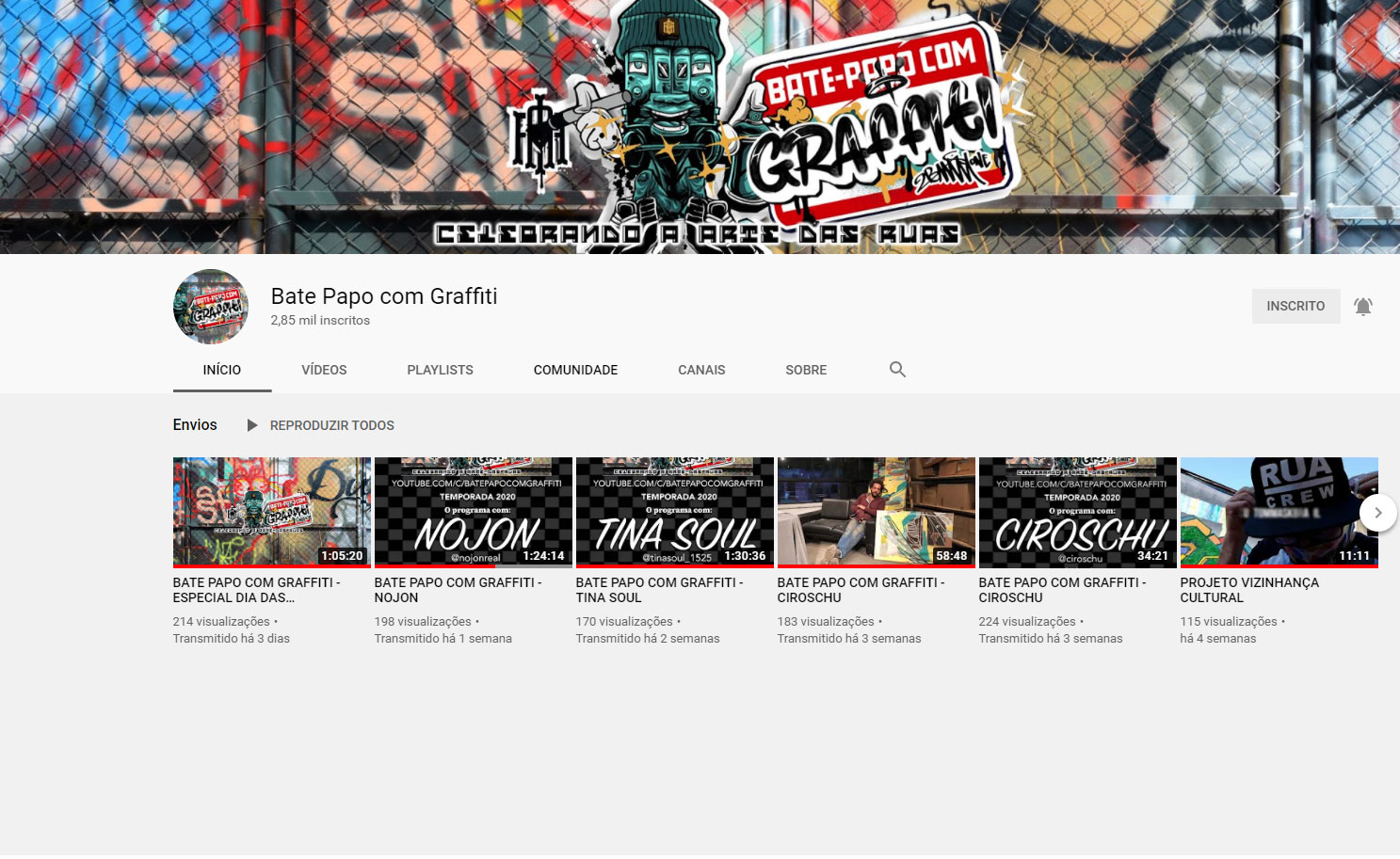 Youtube Bate Papo com Graffiti
